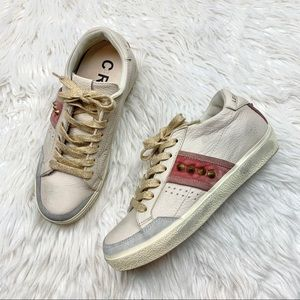 Leather Crown Beige Pink Velvet Studded Sneakers